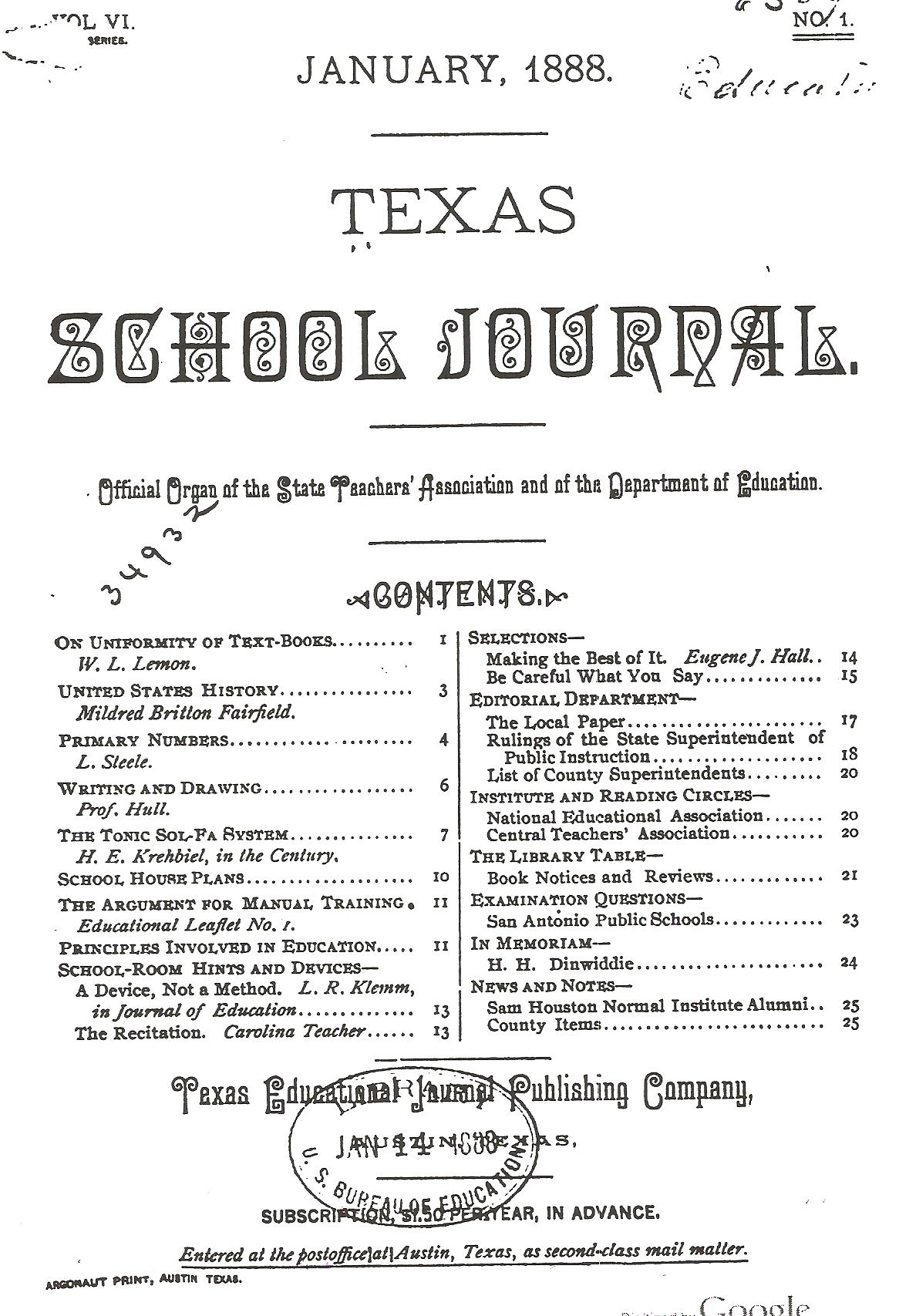 Color printing austin - 1888 Jan Texas School Journal Vol Vi No 1 Jtm Lindsay Principal 2nd Ward Colored School Denison Tx
